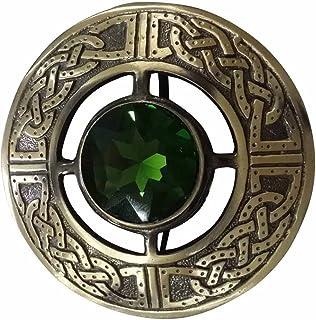 AAR Men`s Scottish Celtic Kilt Fly Plaid Brooch Antique Plated in Stones
