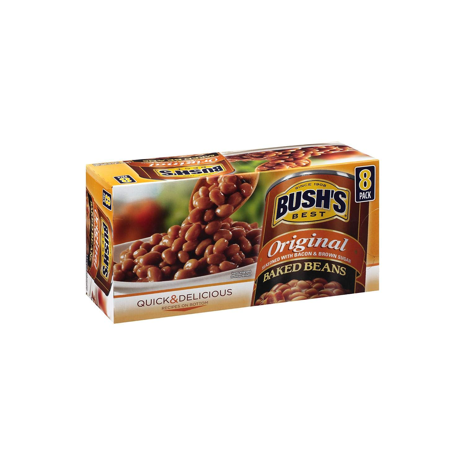 Bush's Best Original Baked Beans | Seasoned With Bacon & Brown Sugar Quick Delicious Gluten Free Baked Canned Beans - 8…