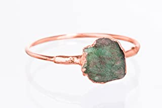 Size 7 Raw Emerald Ring, Rose Gold, May Birthstone Jewelry