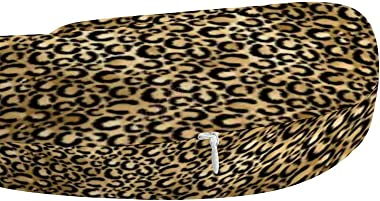 Travel Pillow Memory Foam- Gold Glam Black Leopard Print, Head Neck Support Pillow for Airplane, Car, Home, Office, with Atta
