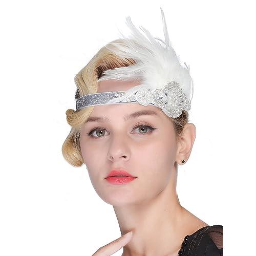 FAIRY COUPLE Vintage Feather Silver Pearl Beaded Headpiece 1920s Flapper Headband