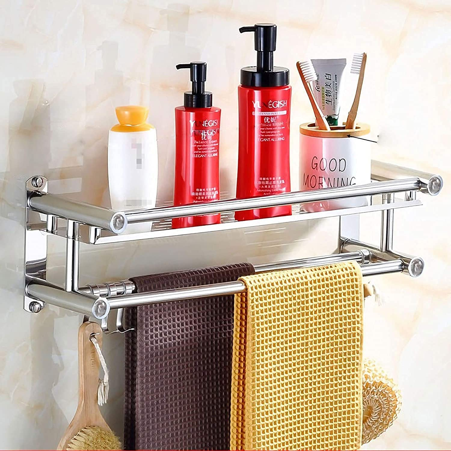 CLEKOD Bathroom Shelf with 70% OFF Outlet Towel Bar Wall Mounted Showe Limited time sale No Drill