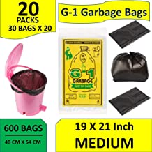 G-1 Garbage Bags Medium Black 19X21 inch | 20 Packs of 30 Pcs = 600 Pcs | Dustbin Trash Waste Dustbin Disposable Covers - Size 48 X 56 cm