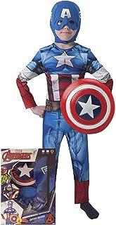 Avengers - Disfraz de Capitán América con escudo para niñ