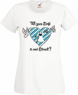 shirtdepartment Damen Oktoberfest T-Shirt Wo zum Deifi is mei Dirndl Wiesn Kostüm Munich