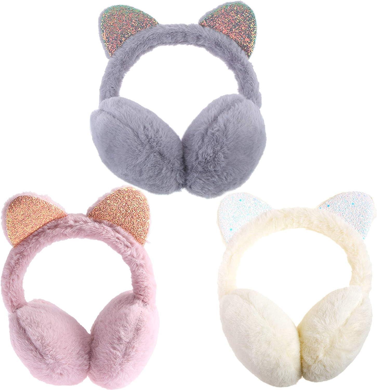 RONRONS 3 Pieces Kids Plush Earmuffs Sequins Cat Ears Warmer Xmas Gift