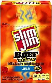 Slim Jim Beef & Cheese Stick, Mild Flavor, 1.5 Oz. 18Count