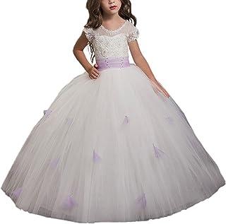 VIPbridal cordón Apliques Manga Corta Vestido de niña de Flores con Marco