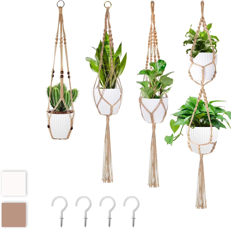 Macrame Super intense SALE Ranking TOP13 Hanging Planter Plant Hangers with 4 - Hooks Handmad pcs