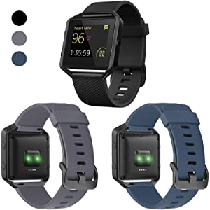 Silicone Soft Sport Breathable Replacement Wristband with Frame Compatible with Fitbit Blaze Bands iHillon Compatible with Fitbit Blaze Bands for Men Women