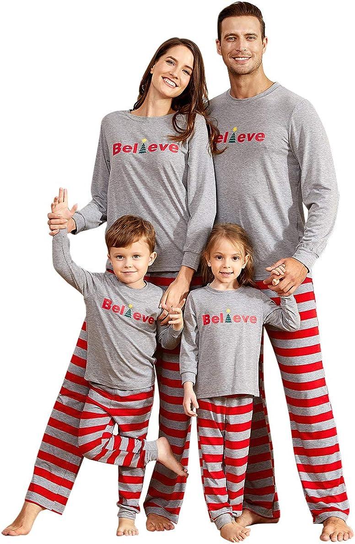 IFFEI Family Matching Pajamas Set Christmas PJ's Sleepwear Believe Printed Top with Striped Bottom