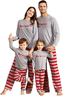 Yaffi Family Matching Christmas Striped Pajamas Set Sleepwear for Dad Mom Baby Kids