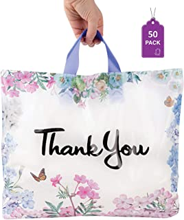 """Floral Thank You Plastic Bags 50 Pack 12"""" x 15"""" with Soft Loop Handle Thank You Shopping Bags"""