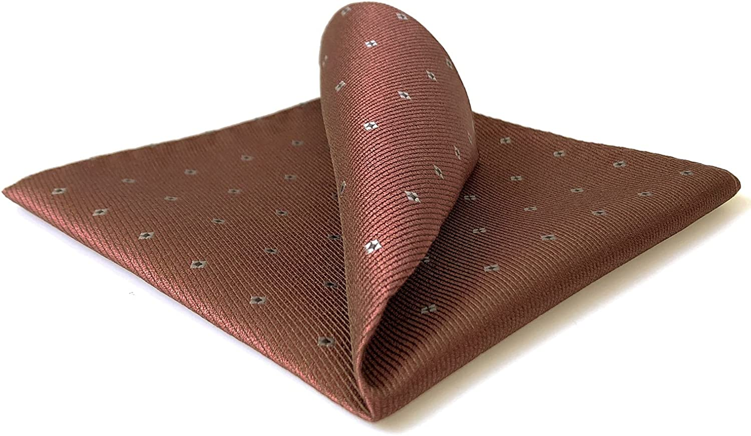 S&W SHLAX&WING Pocket Squares for Men Silk Red Brown Wedding