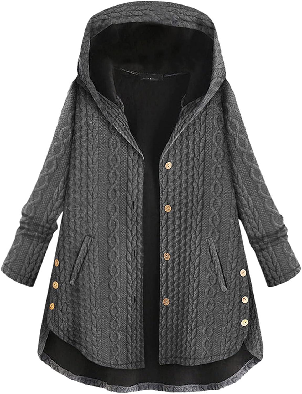 Women Casual Sherpa Fleece Tie-Dyed Cat Ears Jacket Hoodies Button Faux Fuzzy Long Sleeve Warm Sweatshirt Coat