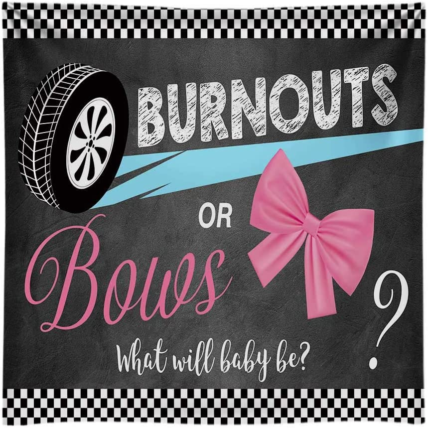 Funnytree Soft Fabric 10x8FT Burnouts or Bows Gender Reveal Backdrop Boy or Girl Pink or Blue He or She Baby Shower Party Banner Decoration Photography Background Photobooth Supplies Prop
