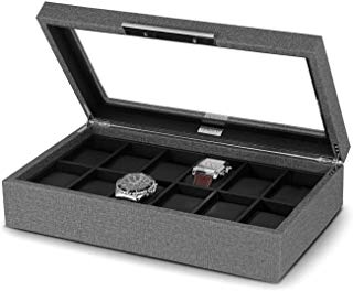 Lifomenz Co 12 Slot Watch Box Grey Leather Watch Display Case Organizer with Modern and Fashionable Stainless Steel Handle,PU Leather Lining,Large Holder, Gray