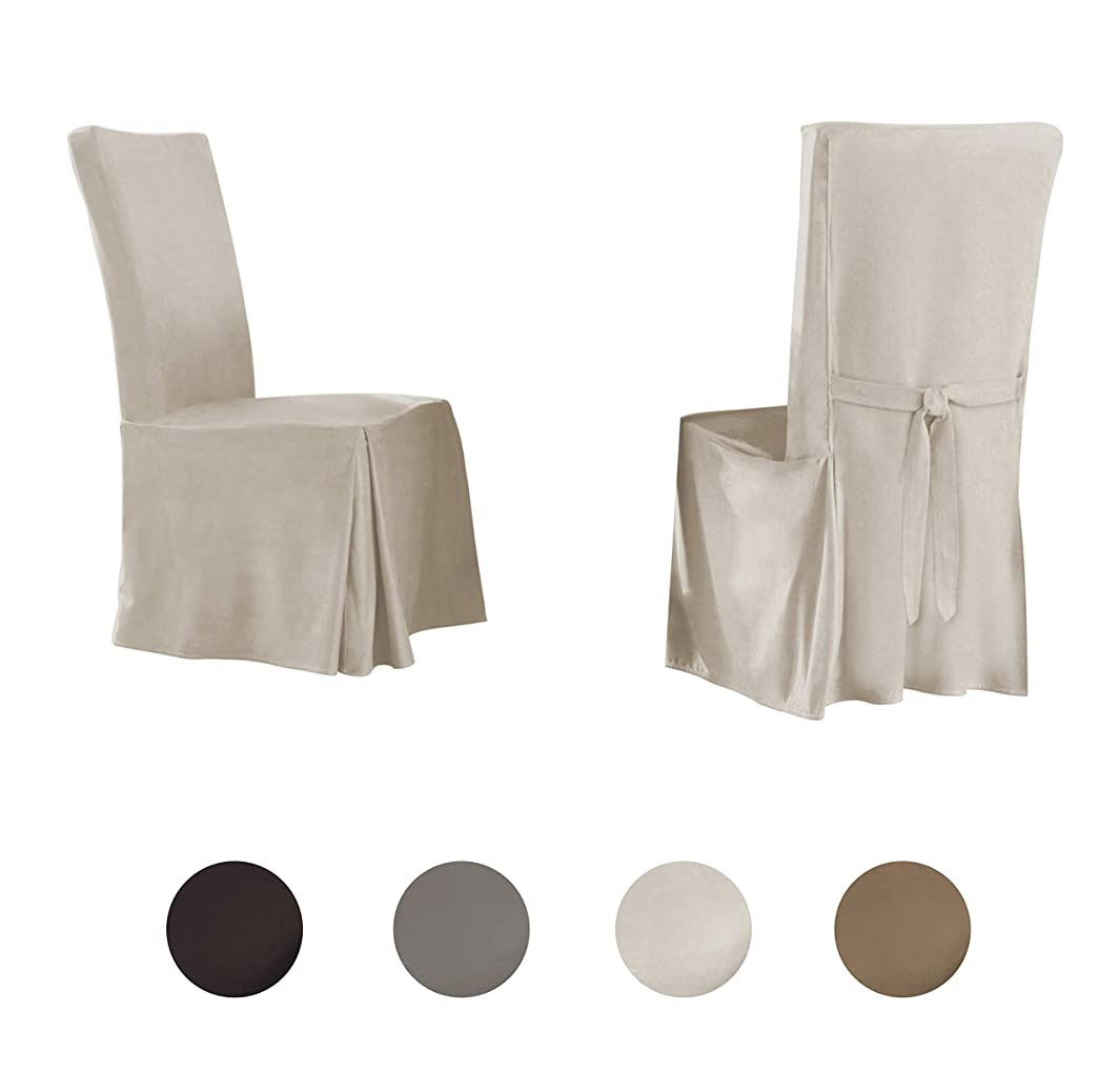 Serta   Relaxed Fit Smooth Suede Furniture Slipcover for Dining Room Chair (Set of 2), Long Skirt (Ivory)