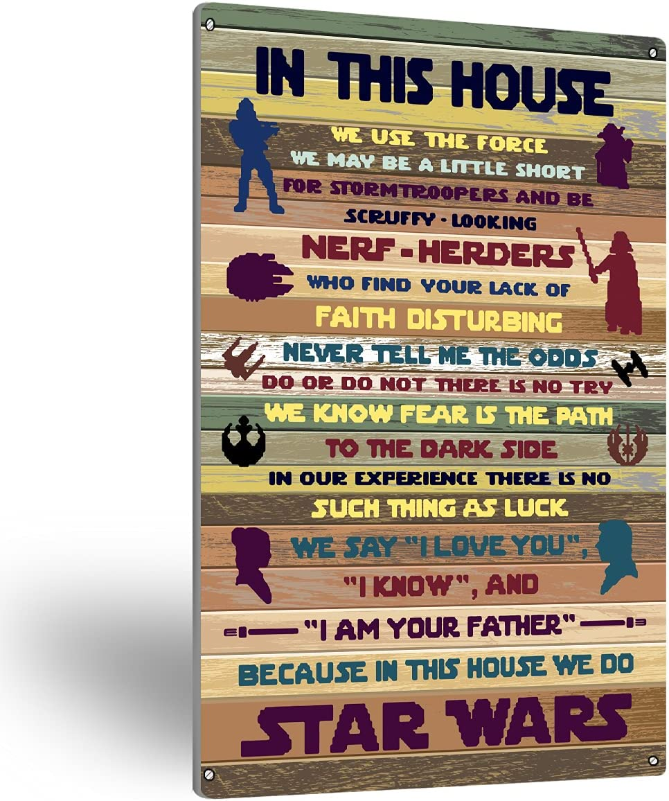 NISTOMISU Farmhouse Rules Metal Tin Sign Wall Art Rustic in This House Star Wars Signs Gifts for Home Wall Decor(8
