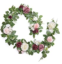 Ling's moment Handcrafted Real Touch Flower Rose Garland 5FT, Artificial Foliage Greenery Vine with Mixed Flowers, for Tab...