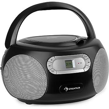 Cuffie Jack da 3,5 mm Boombox CD Nero Ingresso AUX CD Player Display a LED auna Black Bonbon Funzionamento a Batteria//Elettrico Sintonizzatore Radio FM Lettore CD Bluetooth