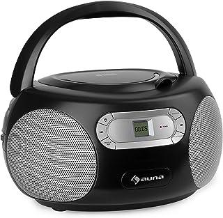 auna Haddaway CD- Minicadena, Reproductor de CD, Conexión Bluetooth, Sintonizador de Radio FM, Entrada AUX, Pantalla LED,...