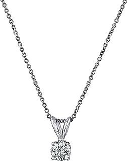 "Premium Diamond Pendant Necklace for Women - AGS Certified Real Diamond 4-Prong Pendant Necklace with 16""+2"" Extender - 14..."