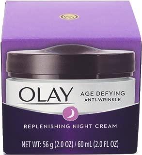 Olay Age Defying Night Cream Anti-Wrinkle Replenish 2 Ounce Jar (60ml) (3 Pack)