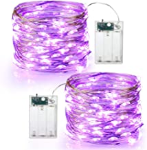 Brizled Purple Halloween Lights, 19.47ft 60 LED Purple Lights String, Battery Powered Twinkle/Steady On Purple Fairy Lights Indoor Silver Wire Starry Lights for Halloween, Wedding, Party Decor, 2 Pack