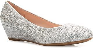 Women's Close Round Toe Low Wedge Glitter Rhinestone Comfort