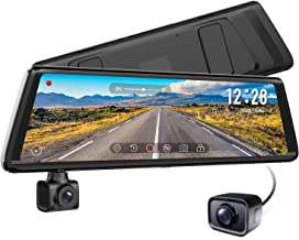 AUTO-VOX A1 Uber Stream Media Mirror Dash Cam,The 3-in-1 Rear View Mirror,1080P Rotating Front or Inside Dash Camera,720P AHD Waterproof Backup Camera with Parking Mode,Loop Recording,G-Sensor,WDR