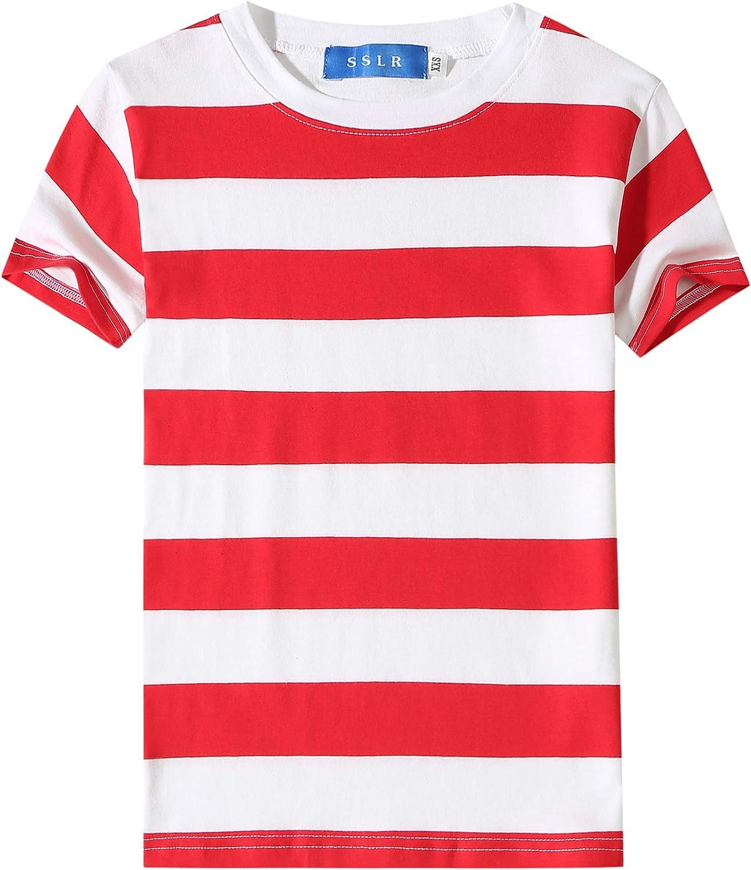 SSLR Big Boys Tshirts Crewneck Tee Short Sleeve Stripe T Shirts for Kids