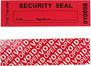 """100 Total Transfer Tamper Evident Security Warranty Void Stickers/Labels/Seals (Red 1"""" x 3.35"""" with Serial Numbers - Tampe..."""