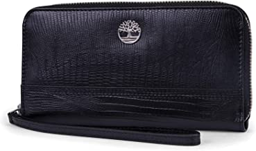 Timberland Womens Leather RFID Zip Around Wallet Clutch with Wristlet Strap