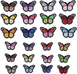 24PCS Assorted Color Butterfly Patch Stickers Embroidery Badge Iron On Applique Patch 2 Size for Bags Jackets Tablecloth Bedsheets
