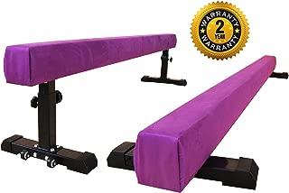 PreGymnastic Train On a Rainbow-Club Level 8FT Floor&Height Adjustable Balance Beam Portable Gymnastic Beam with Bonus Anti-dust Cover