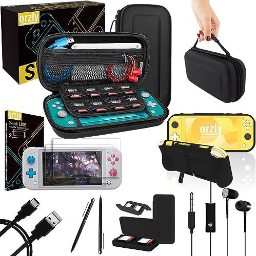 Orzly Switch Lite Accessoire Pack pour Nintendo Switch Lite (2019) Pack Comprenant: Protecteurs d'écran en Verre Trem...