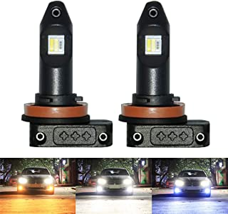 H11 Led Fog Lights Bulb H8 H9 H16(JP)3000Lm Three Colors White 6500K Yellow 3000K Ice Blue Plug And Play with CSP Led Chips 12V 24V Foglight Lamp Bulb for Car Auto Front Fog