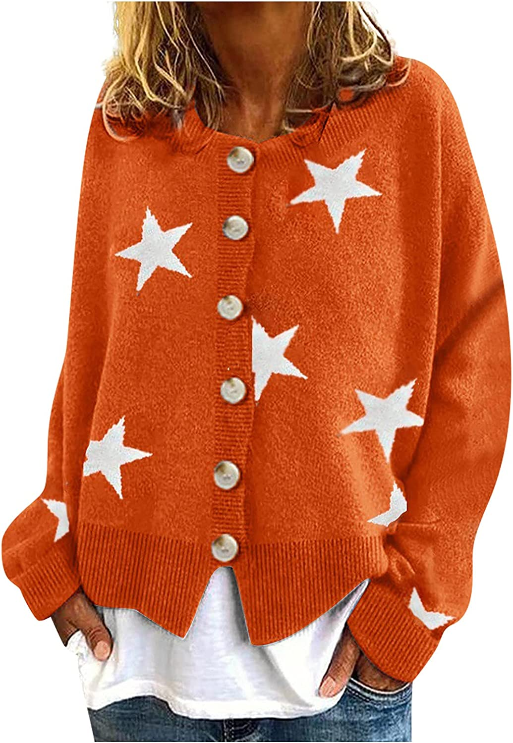 Womens Cute Star Pattern Print Knit Cardigan Sweater Crewneck Long Sleeve Button Down Open Front Knit Coat 90s Tops