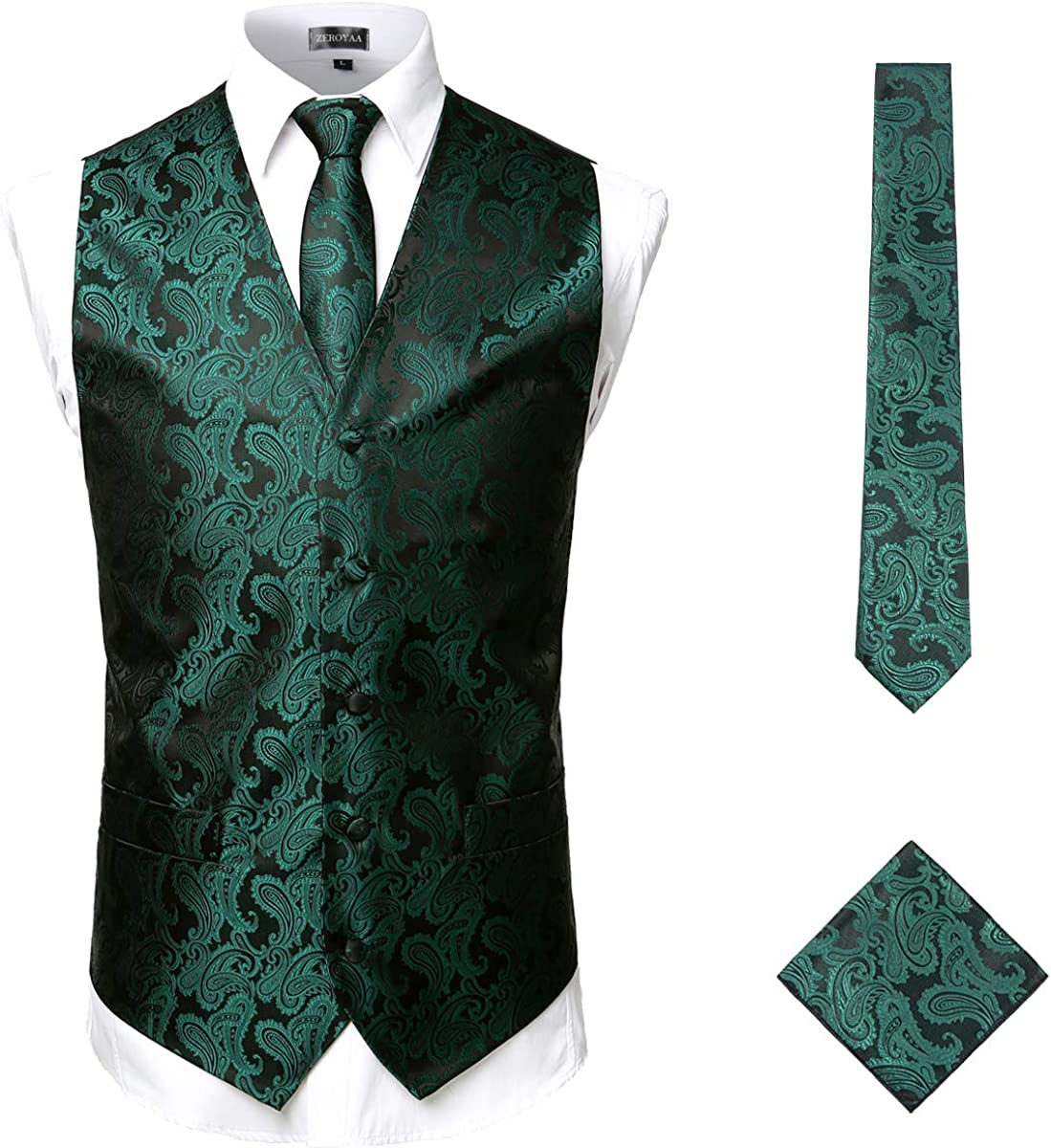 ZEROYAA Men's Classic 3pc Paisley Jacquard Vest Set Necktie Pocket Square Set for Suit or Tuxedo