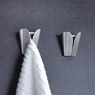 Towel Holder, DELFINO No Drilling Self Adhesive Towel Holders Hook Rack Towel Hangers Hand Towel Hook Tea Towel Holders Wa...