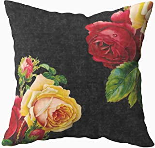Musesh Vintage Bohemian Roses Design Cushions Case Throw Pillow Cover for Sofa Home Decorative Pillowslip Gift Ideas Household Pillowcase Zippered Pillow Covers 16X16Inch