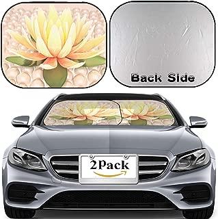 MSD Car Windshield Sun Shade, Universal Fit 2-Piece Foldable Car Sunshade, Block Sun Glare, UV and Heat, Sun Visor,Lotus and Pearls Image ID 38781919
