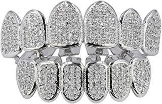 Iced Out CZ Lab Diamond Zircon Trippie Vampire Fangs Top and Bottom Grillz for Kids Men Hip Hop