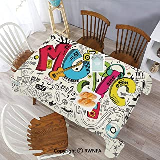 Polyester Washable Table Cover Pop Art Featured Doodle Musical Background with Instruments Sound Art Illustration Indoor Outdoor Party Holiday Birthday Home Picnic Decor(60×104 inch) Multi