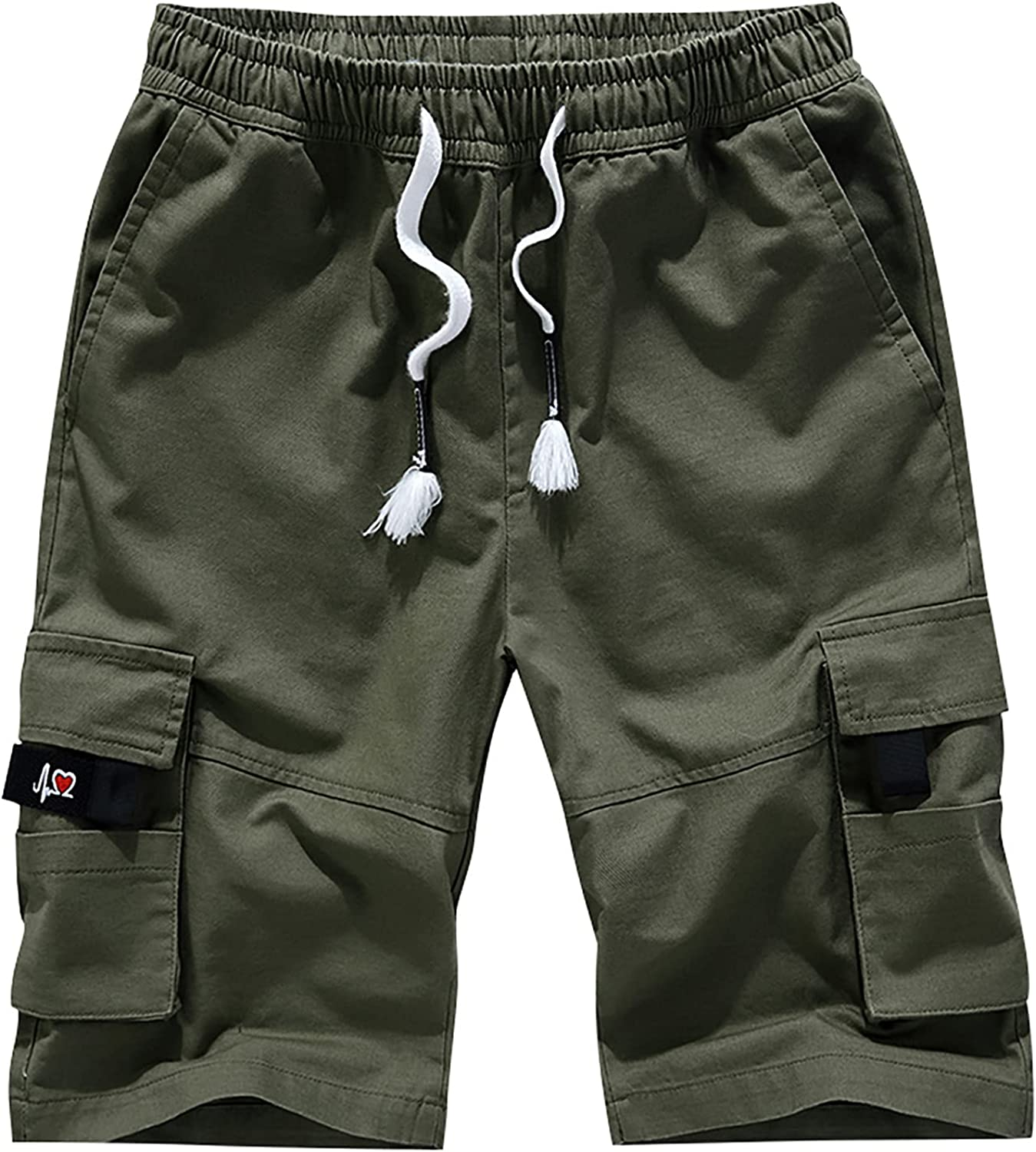 Tantisy Men's Trendy Ultra Soft Drawstring Pocket Pants Five-point Shorts Camouflage and Solid Color Overalls Shorts