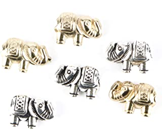 Monrocco 80Pcs Tibetan Lucky Elephant Spacer Beads Alloy Metal Elephant Loose Spacer Beads Animal Charm Beads for Jewelry Making