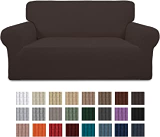 Easy-Going Stretch Loveseat Slipcover 1-Piece Couch Sofa Cover Furniture Protector Soft with Elastic Bottom for Kids. Spandex Jacquard Fabric Small Checks(loveseat,Chocolate)
