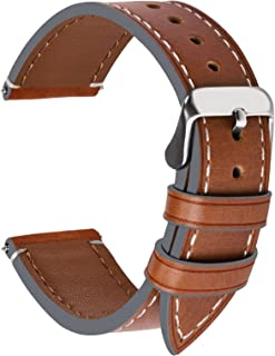 4 Colors for Smart Watch Strap, Fullmosa Top Leather Watch Band Replacement 18mm,Dark Brown + Silver Buckle