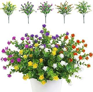 TSHAOUN Lot de 5 Bouquets de Fleurs Artificielles, Plantes de Verdure Résistantes aux UV pour Extérieur,Intérieur,Balcon,J...